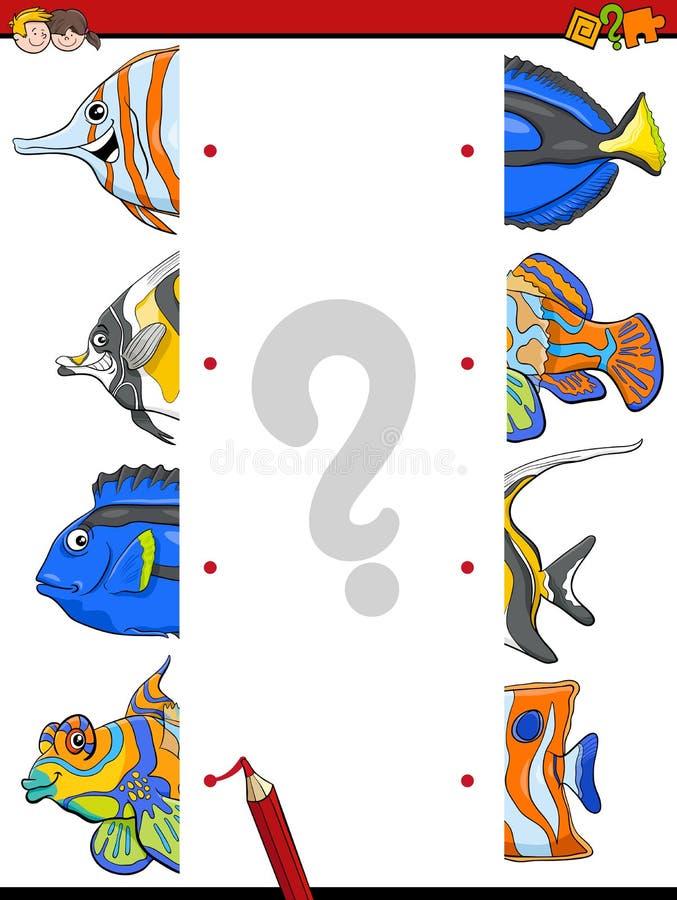 Match the fish halves activity royalty free illustration