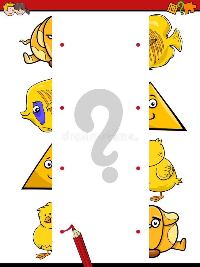 Match the halves activity vector illustration