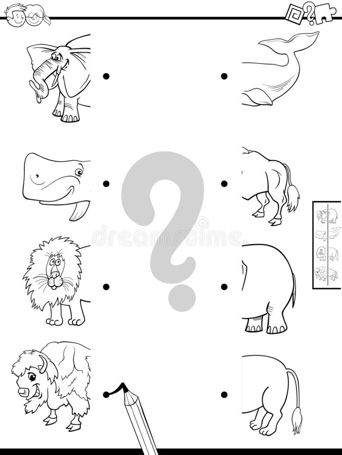 Match halves of animals coloring book. Black and White Cartoon Illustration of Educational Game of Matching Halves of Pictures with Wild Animal Characters Color stock illustration