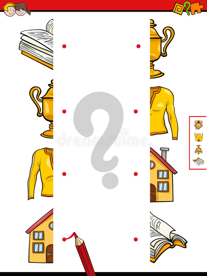 Match the halves of objects royalty free illustration