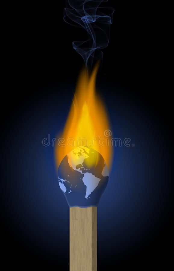 A match head that looks like planet earth is up in flames in this illustration about global warming stock illustration