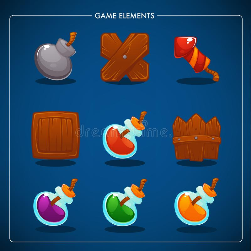 Match 3 Mobile Game, games objects, potion, bomb, dynamite, box, fence, petard stock illustration