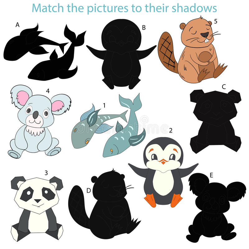 Match the pictures to their shadows child game. Cartoon hand drawn doodle vector illustration vector illustration
