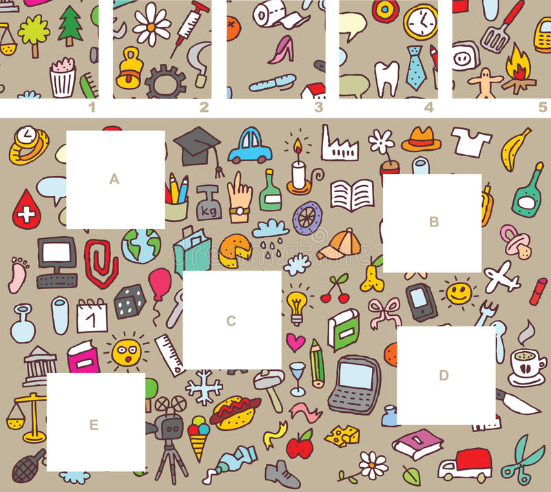 Match pieces, visual game vector illustration