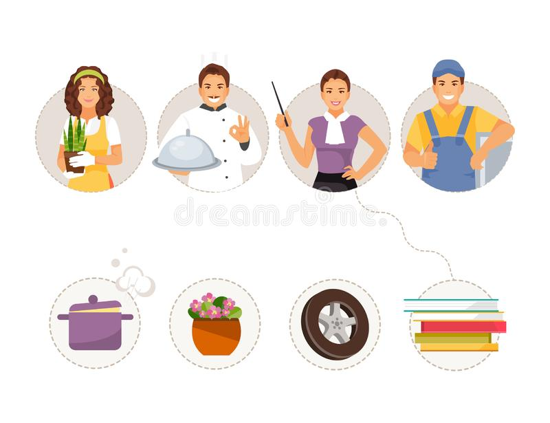 Match professions and objects royalty free illustration