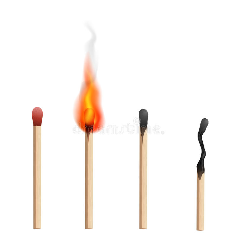 Match. Realistic brand new, burning and burnt match sticks on white background. Vector illustration vector illustration