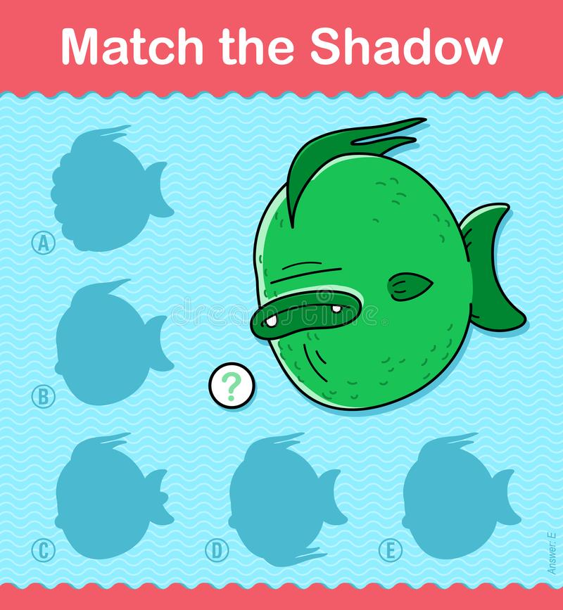 Match the Shadow kids puzzle game with fish vector illustration