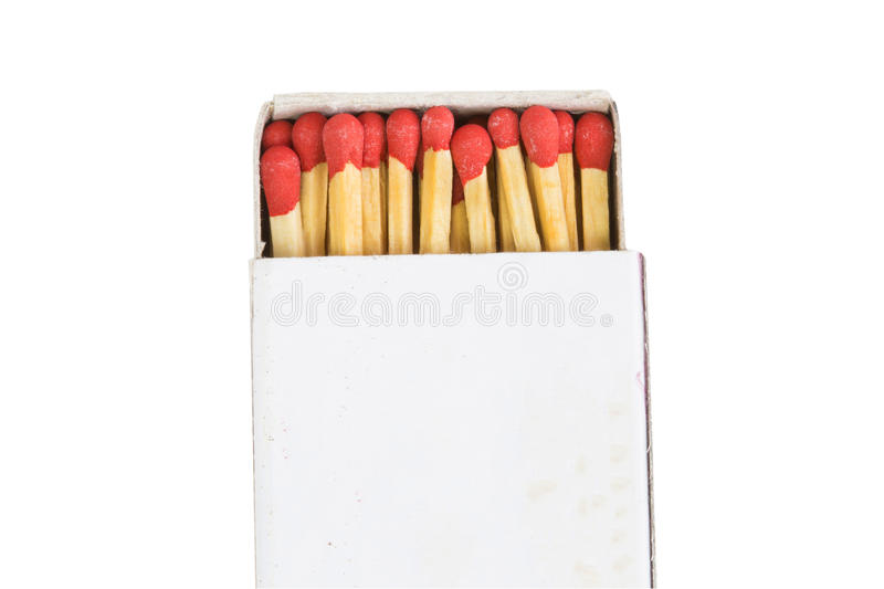 Match sticks in box with clipping path isolated on white background. stock images