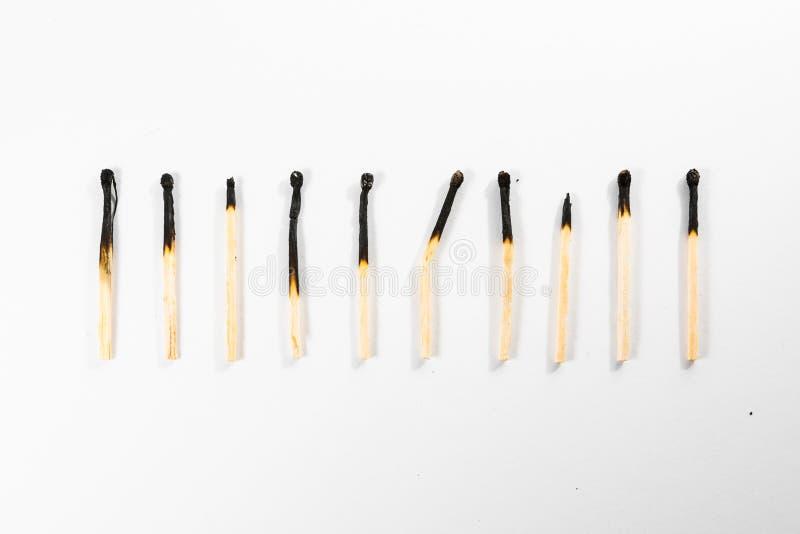 Match-Stock-Makrodetail-Feuer-Symbol-Sicherheit Weiß lokalisiertes Backg lizenzfreies stockfoto