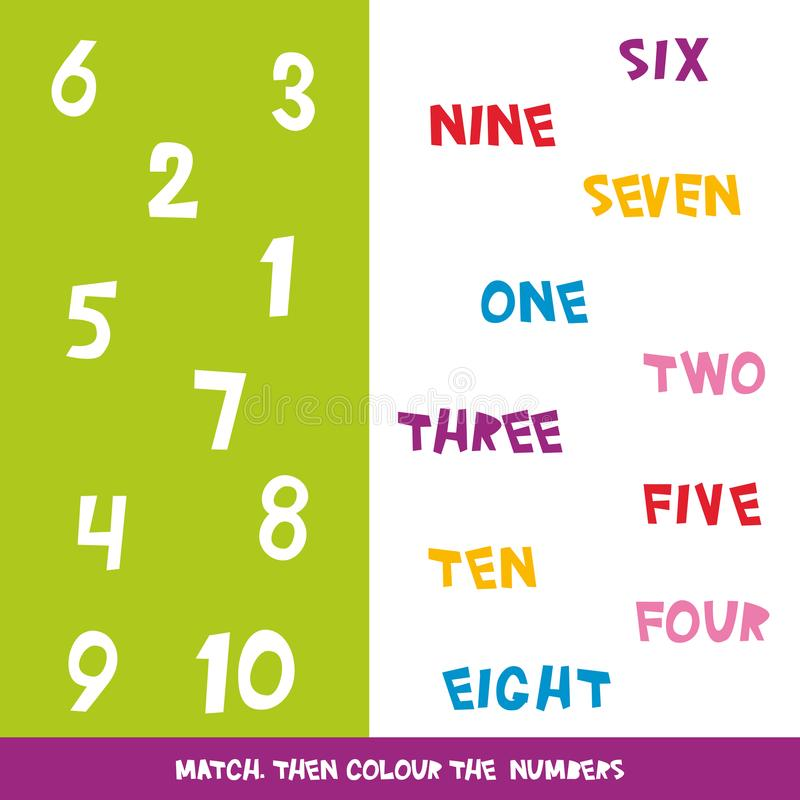 Match Then Colour The Numbers 1 To 10. Kids Words Learning ...