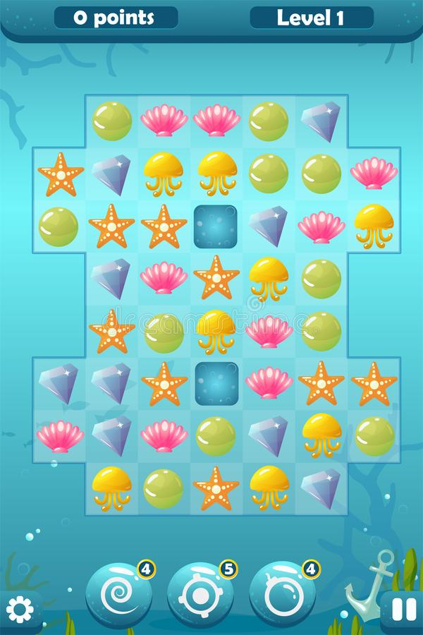 Match Three Game Interface for Underwater World. Vector match three game interface with background, bonuses - swirl, bomb, pointing and settings, score royalty free illustration