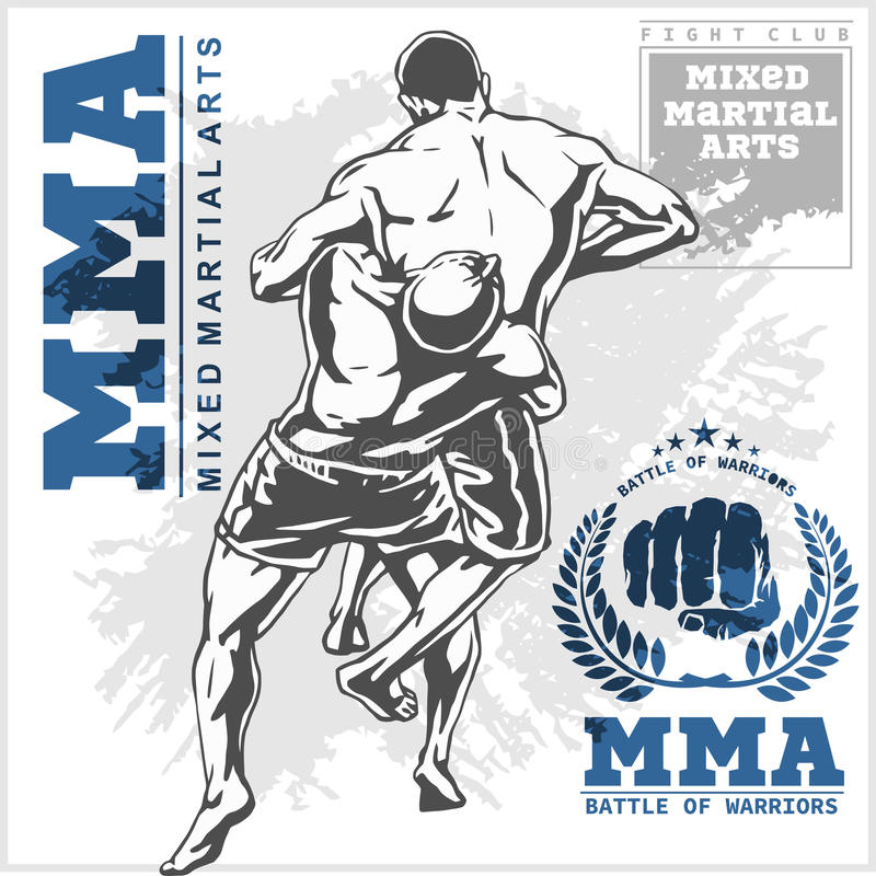 Match two fighters of martial mixed arts. vector illustration