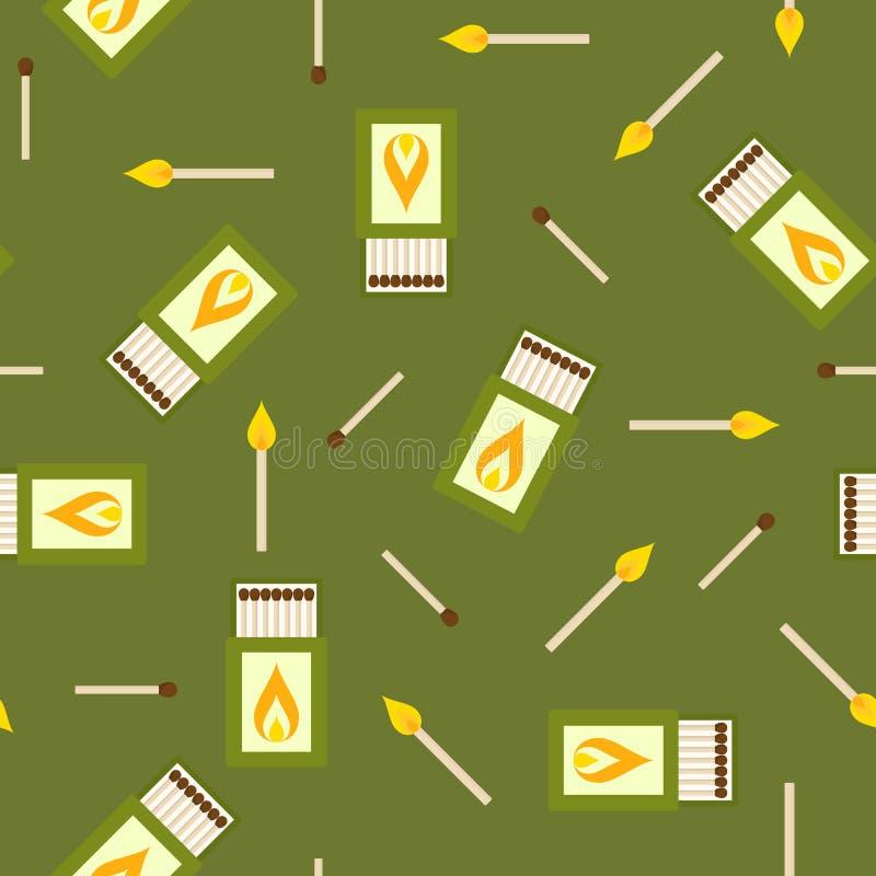 Match und nahtloses Muster der Streichholzschachtel vektor abbildung