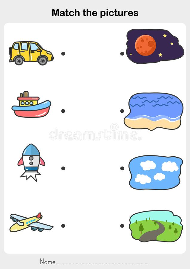 Match vehicle with the place. Match vehicle car, boat, rocket, plane with the place  - Worksheet for education vector illustration