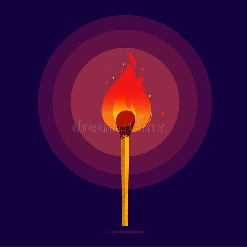 Free Match With Fire Glowing In The Darkness. Burning Matches - Motivation, Creativity, Inspiration, Success, Faith And Belief Concept Stock Image - 99505261