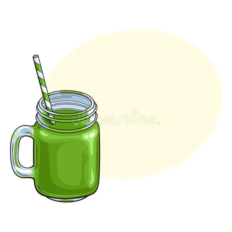 Matcha在玻璃瓶子,杯子的绿茶圆滑的人 皇族释放例证