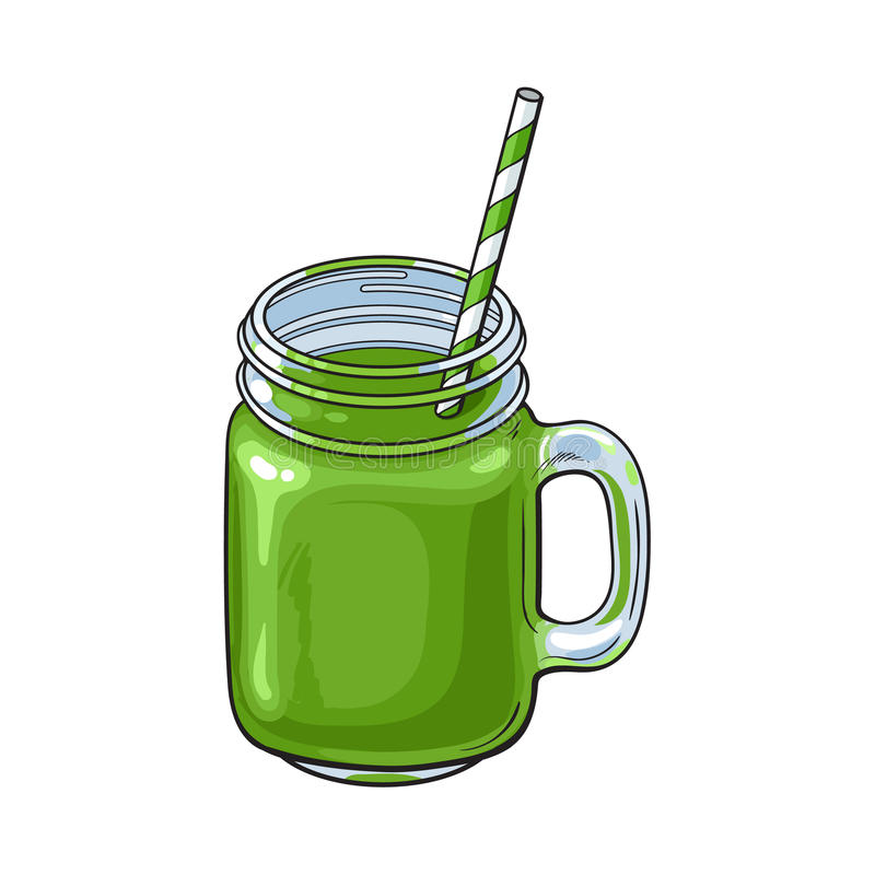 Matcha在玻璃瓶子,杯子的绿茶圆滑的人 库存例证