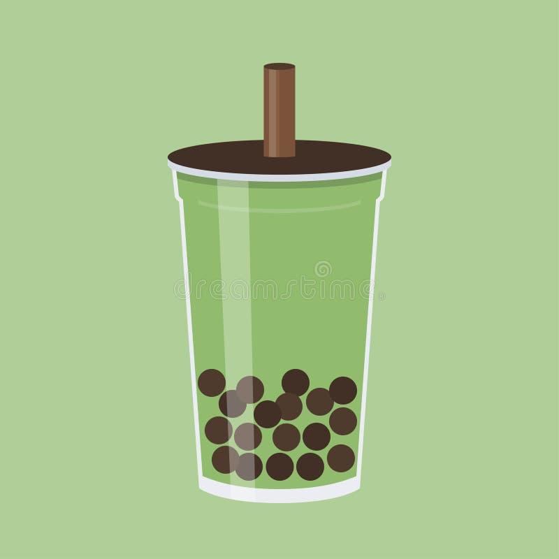 Matcha泡影茶,珍珠奶茶传染媒介例证 皇族释放例证