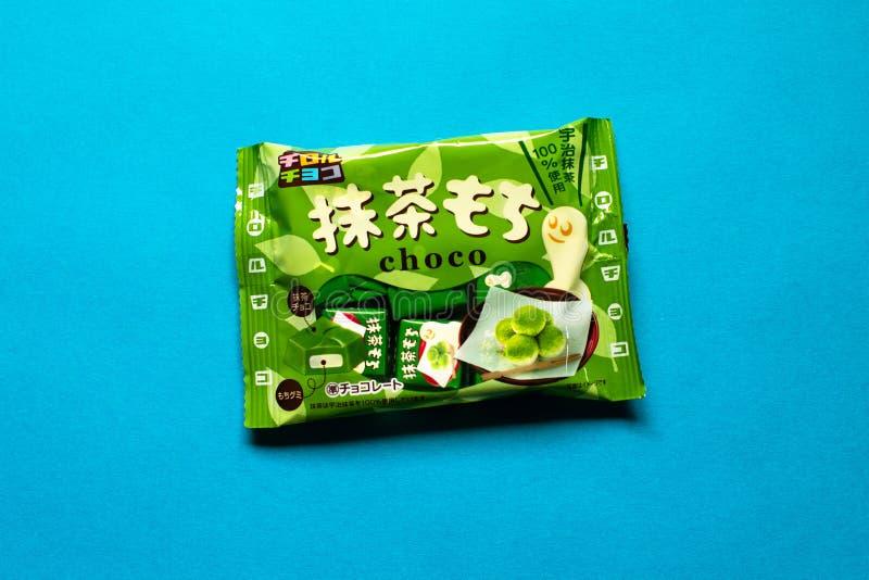 Matcha绿茶墨池提洛尔巧克力集合日本糖果 免版税库存照片
