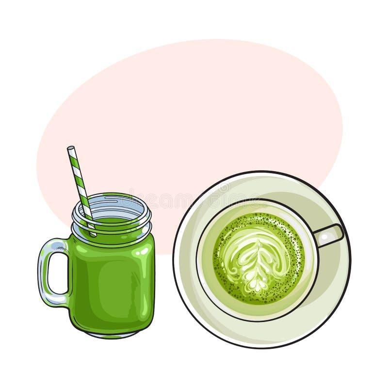 Matcha绿茶拿铁和圆滑的人饮料 向量例证