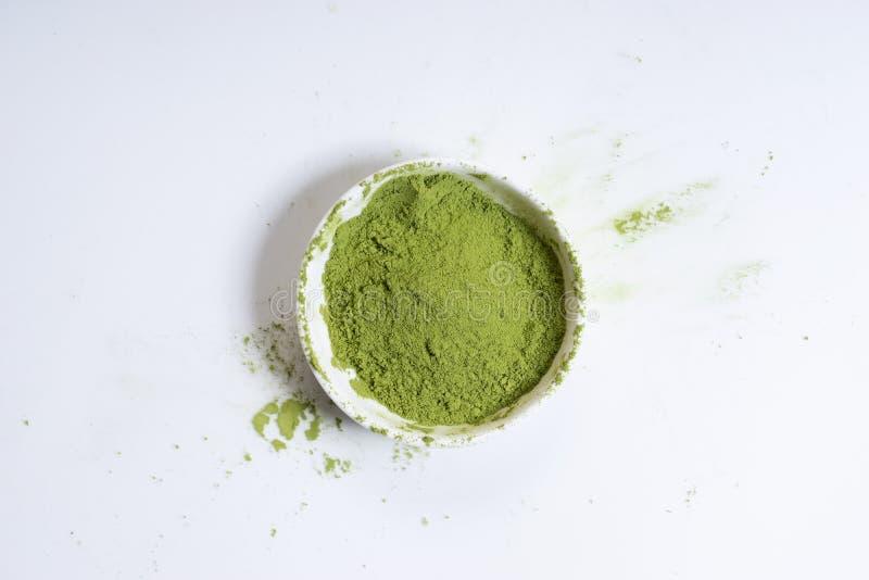 Matcha绿茶粉末 库存照片