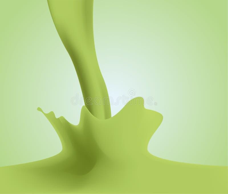 Matcha绿茶调味的牛奶飞溅 向量例证