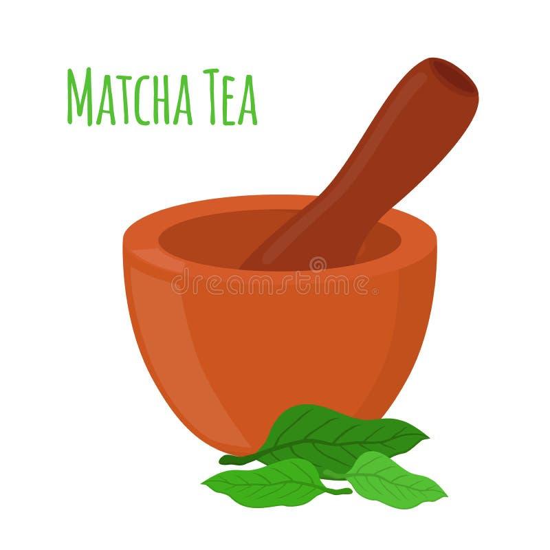 Matcha茶,灰浆,杵 动画片平的样式 也corel凹道例证向量 库存例证