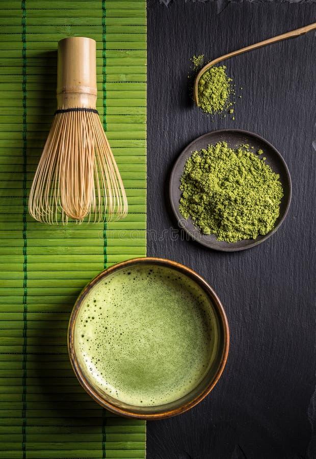 Matcha辅助部件和绿茶 免版税图库摄影