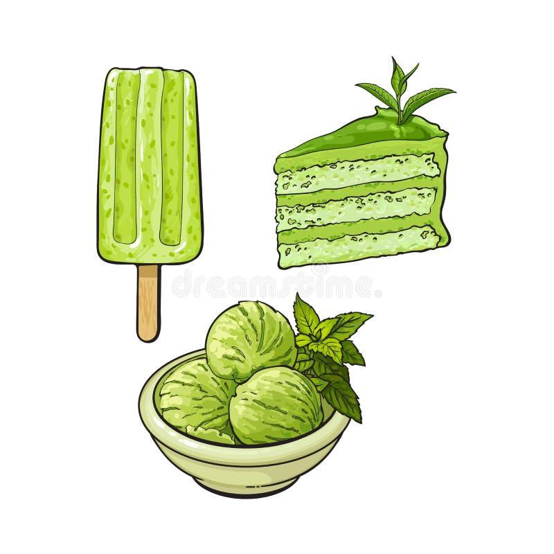 Matcha绿茶冰淇凌,蛋糕,冰棍儿 皇族释放例证