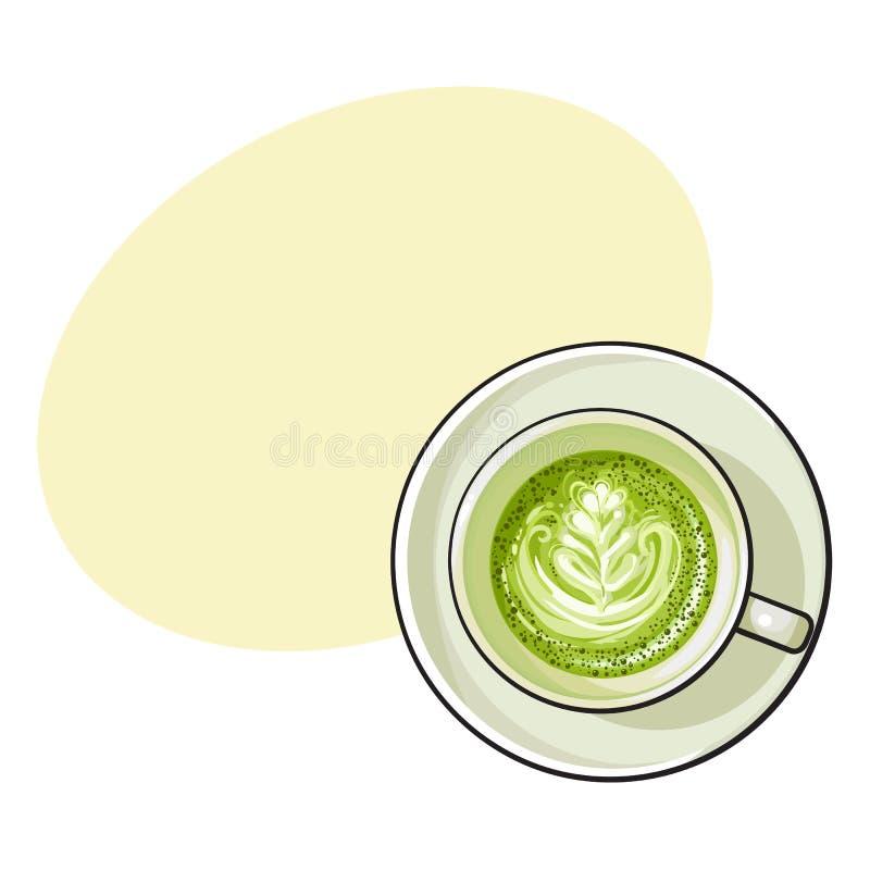 Matcha绿茶拿铁,热奶咖啡饮料,顶视图 向量例证