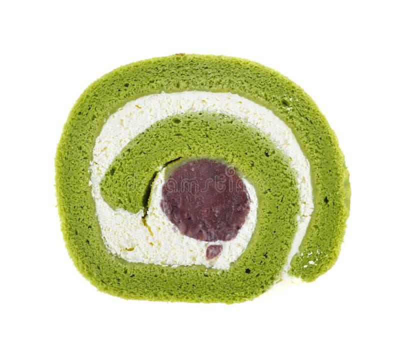 Matcha绿茶薯类卷蛋糕 库存照片