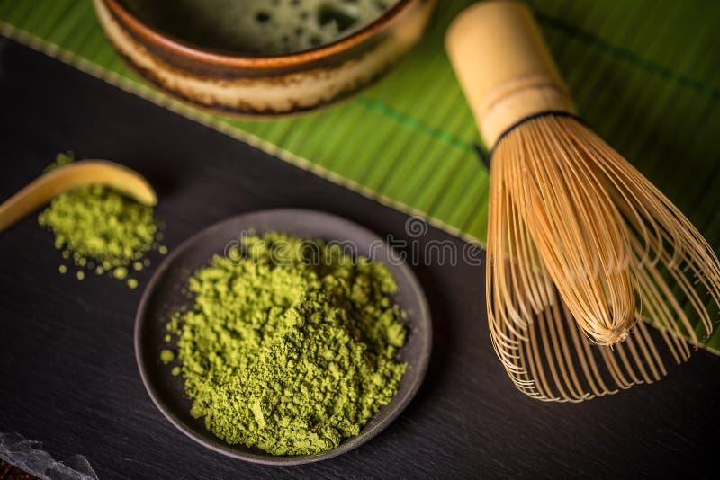 Matcha, chá verde do pó foto de stock royalty free