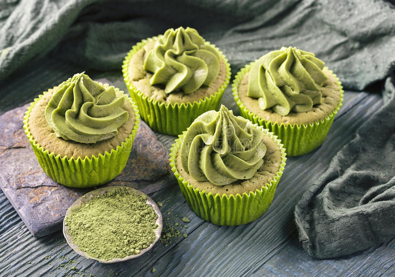 Matcha cup cakes stock photography