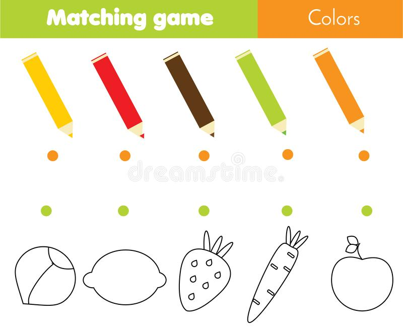 Matcha den bildande barnleken Matchgrönsaker och frukter vid färg Aktivitet för pre skolaungar och små barn stock illustrationer