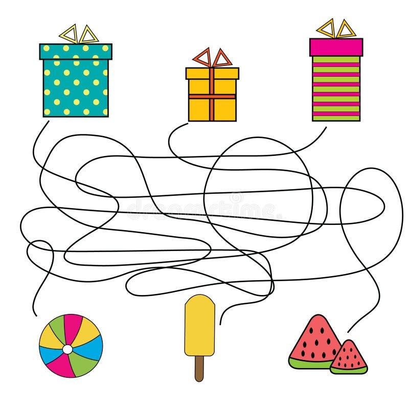 Matcha den bildande leken för barn Matcha gåvaasken med objekt Bildande barnlek med labyrint vektor illustrationer