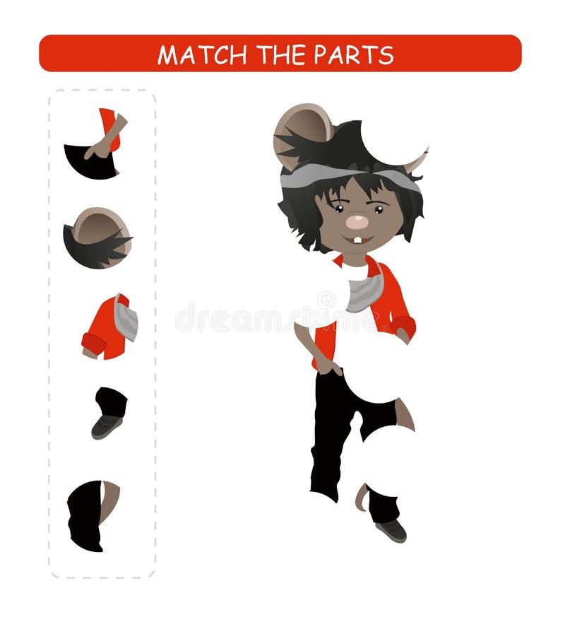 Matcha den bildande leken f?r barn Matchdelar av tecknad filmmusen Aktivitet f?r ungar och sm? barn vektor illustrationer