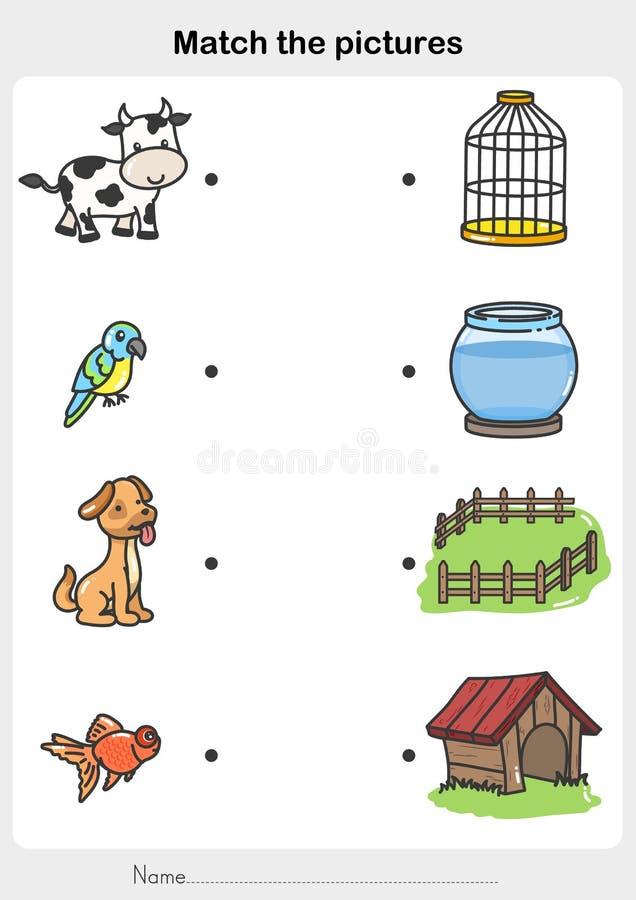 Matcha djur med bur - Kalkylblad för utbildning stock illustrationer