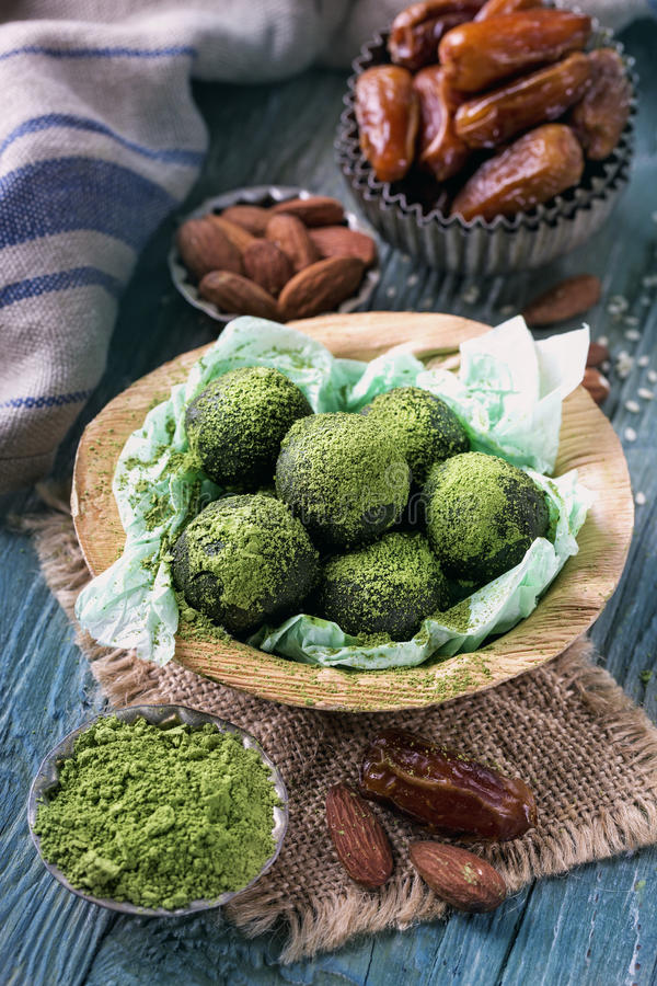 Matcha energy balls royalty free stock photography