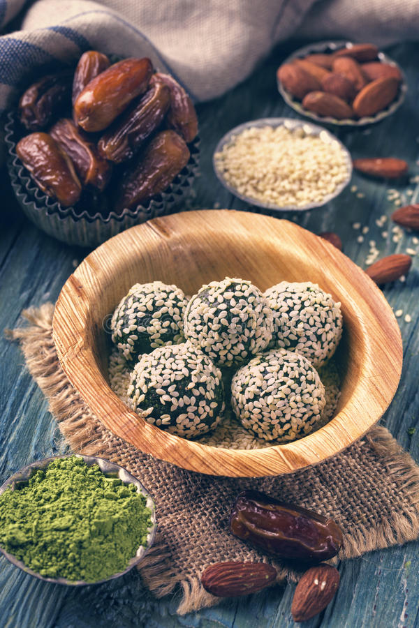 Matcha energy balls stock images