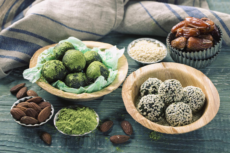 Matcha energy balls stock photography