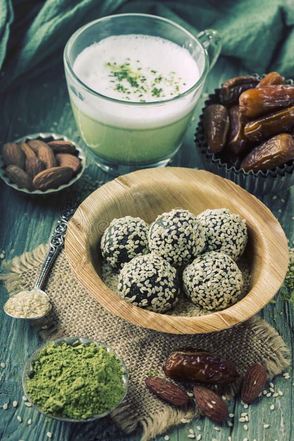 Matcha energy balls royalty free stock images