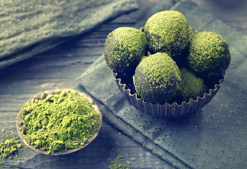 Matcha energy balls royalty free stock photos
