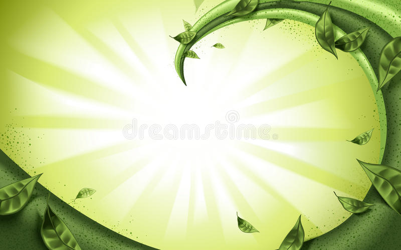 Matcha or green tea fillings flow. On green background, with green leaves elements royalty free illustration