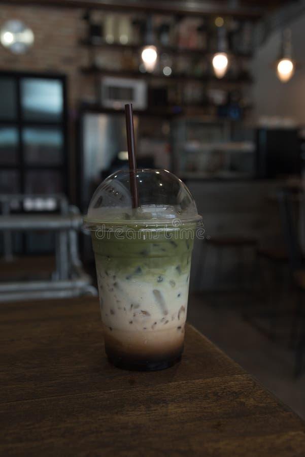 Matcha groene thee smoothie stock fotografie