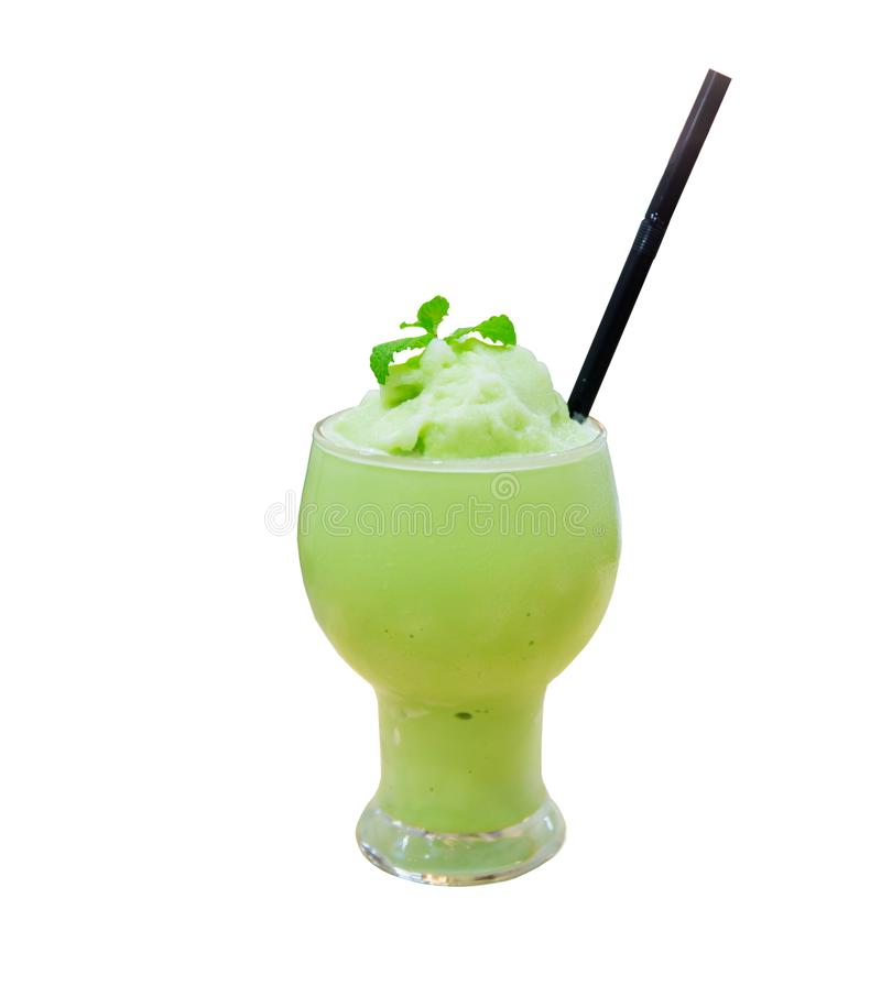 Matcha latte frappe glass with blur background. soft and blurr style. Close up matcha latte frappe glass with blur background. soft and blurr style. image for royalty free stock images