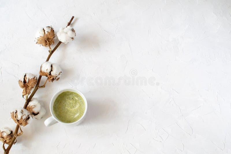 Matcha latte in witte kop naast droge katoenen tak stock afbeeldingen