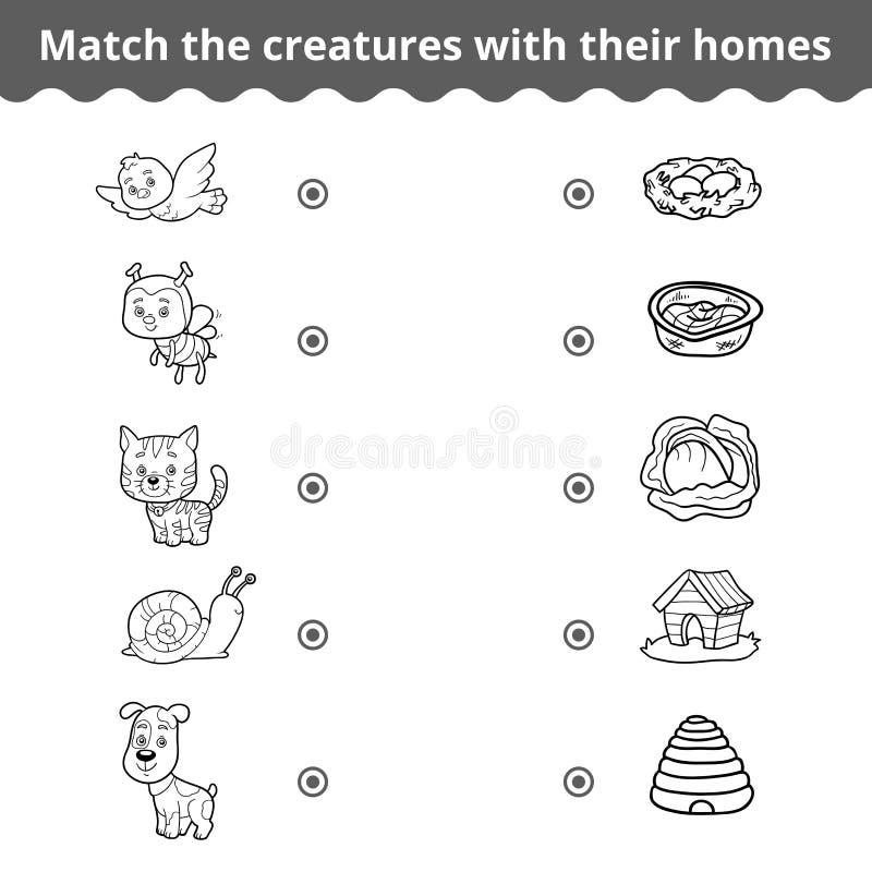 Matcha leken för barn, djur och deras hem vektor illustrationer