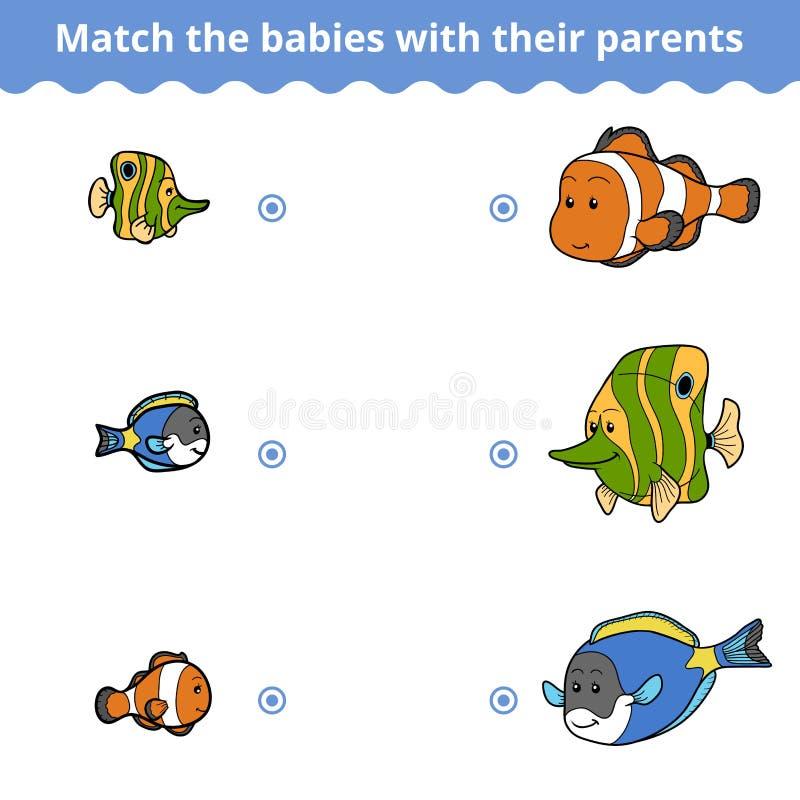 Matcha leken för barn, fiskfamilj vektor illustrationer