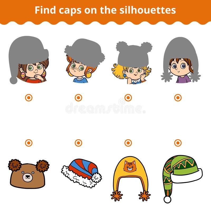 Matcha leken för barn Matcha hattarna vid konturn stock illustrationer