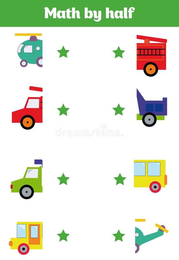 Matcha leken för barntecknad filmillustration av aktivitet för förskole- utbildning med att matcha halvor spela vektor illustrationer